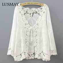 Crochet Lace Kimono Summer 2017 Fashion Holiday Lace Up Tops Women Long Sleeve Hollow Out White Blouse Beach Kimono Cardigan(China)