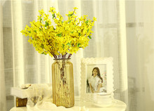 New Styles Artificial Little Yellow Flowers Silk Craft Real Touch Flowers For Wedding Christmas Room Decoration 12 pcs/set Cheap