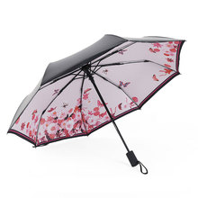 New Umbrella Rain Women Fully-automatic Umbrella Anti UV Parasol Ultral-Light 3 Folding Umbrella For Travel Meteor Showers(China)