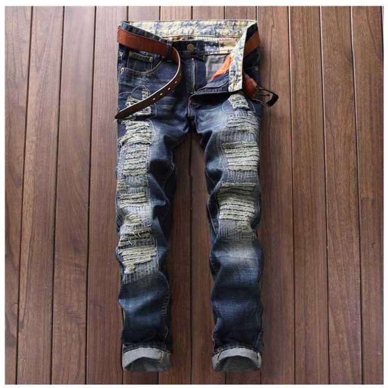 Men Fashion Hole Ripped Jeans Pantalon Homme Casual Slim Straight Scratched Denim Pants Long Trousers Locomotive Jeans HombreОдежда и ак�е��уары<br><br><br>Aliexpress