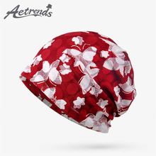 [AETRENDS] 2017 Autumn Lace Floral Baggy Beanies Red Hats for Women Female Caps Beanies Z-5347