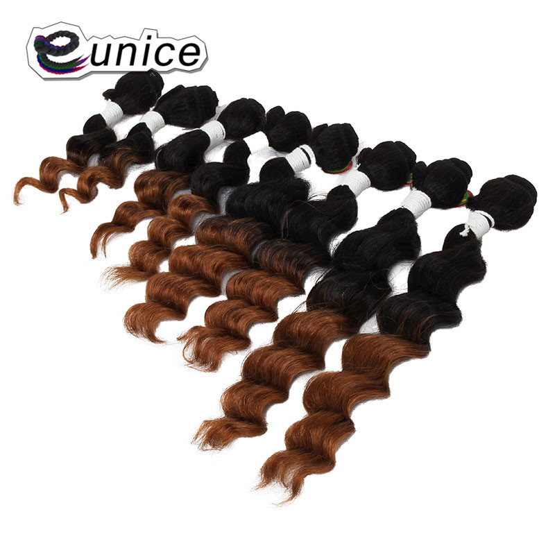 Deep Wave Brazilian Hair Ombre Human Hair Weave Bundles Extensions blond burgundy colors   (41)