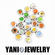 20pcs/lot Newest 2016 DIY Alloy Metal Fruit Charms Glass Dome Charms for Living Floating Locket Charms