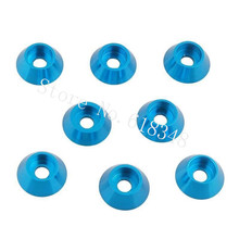 8pcs/Lot 3x12mm M3 Aluminum Wheel Nut Washer Alloy Cone Cup Head Screw Gasket 7668 For 1/10 1/8 RC Model Car Baja Parts