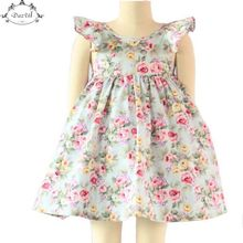 Vintage Floral Girls Dress Ruffle Sleeve Backless Bule Flower Baby Girls Summer Dress Boutique Girls Clothes 6T Girls Outfit(China)