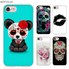 BINYEAE gothic sugar skull Clear Cell Phone Case Cover for Apple iPhone 4 4s 5 5s SE 5c 6 6s 7 7s Plus(China)