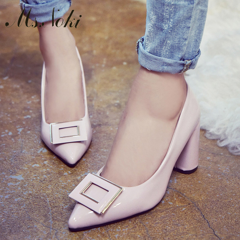 Ms. Noki square Heels Buckle Woman pumps heel Shoes Office Occasion soft Leather leisure shoes Fashion Womens Casual Shoes<br><br>Aliexpress