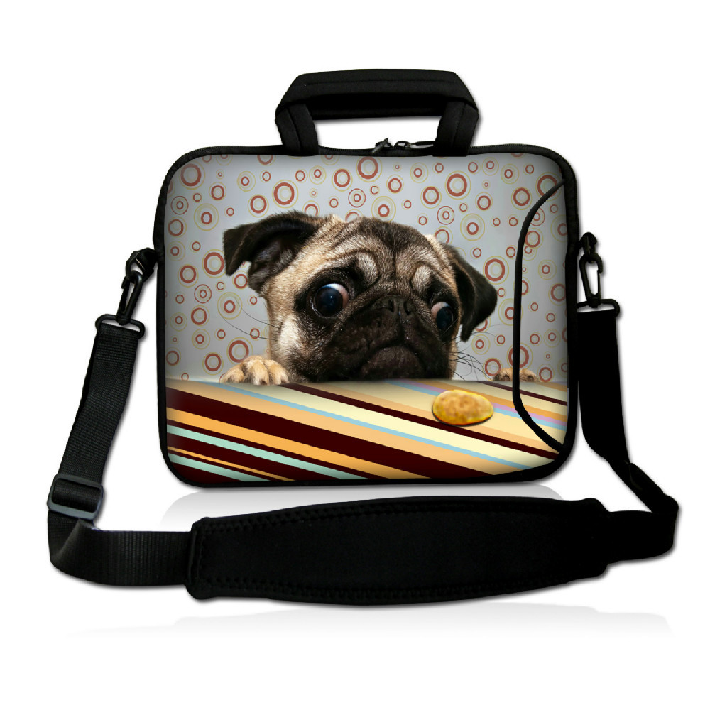 Cute Pug Soft Laptop Carry Sleeve Case Bag Cover w/ Shoulder Strap,Outside Handle  For 9.7 10 10.1 10.2 inch Laptop Tablet<br><br>Aliexpress
