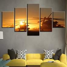 Canvas Painting Wall Art Prints Home Decoration 5 Panel The Helicopter Fashion Modular Pictures For Living Room Framework(China)