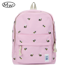 Japanese style embroidery animal printing backpack women canvas backpack school bags for teenager girls students bag AB1092