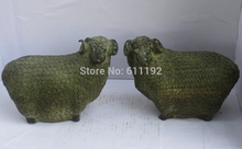 Free shipping A pair Antique Home FengShui decoration bronze sheep sculpture Metal crafts,Goat statue