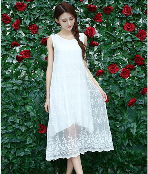 Maternity Dress Summer Fashion White Vest Dresses For Pregnant Women Embroidery Lace Casual Maternity Clothes Long Paragraph