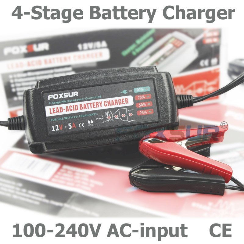 FOXSUR 12V 5A Automatic Smart Battery Charger, Maintainer &amp; Desulfator for Lead Acid Batteries, Car Battery Charger 100-240V In<br>