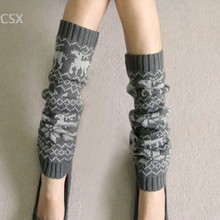 Alishebuy Women Lady Winter Knitted Footless Knee Socks Leg Boots Warmer Cover Snowflake Deer Shape Boot Cuffs Leg Warmers u2