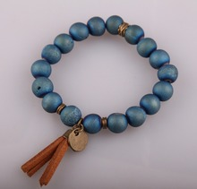 Fashion Design Energy Bracelets Made By Antique Bronze Tassel Beautiful Natural Blue Agat Druzy Bracelet(China)