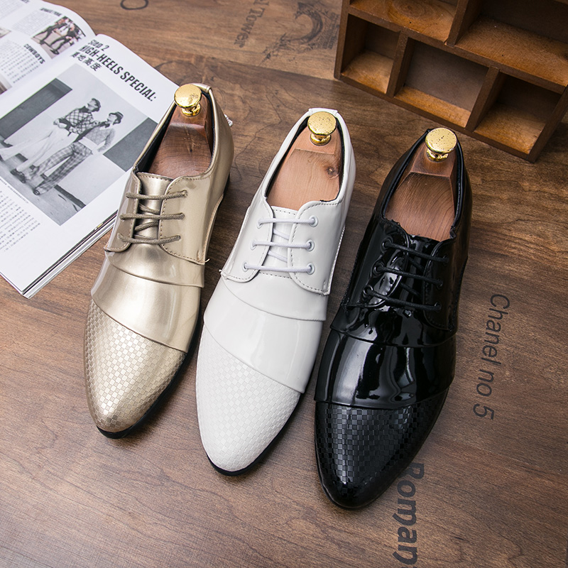 comfortable mens dress shoes luxury brand italian gold male footwear formal patent leather woven skin derby oxford shoes for men (40)