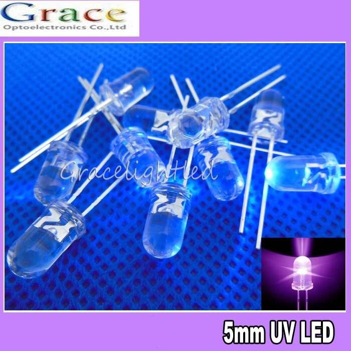 20//50//100PCS 5mm Straw Hat UV Purple LED Light Emitting Diode Super-Bright