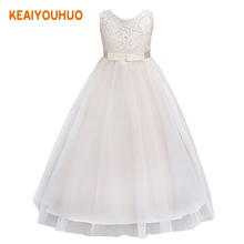 Flower Girls wedding dress for Christmas party sleeveless girls clothes Chiffon Christmas custume 3 4 5 6 7 8 9 10 11 12 years