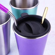 Beer Mug Coffee-Cup Straw Metal Travel Reusable 500ml 304-Stainless-Steel Camping Cover