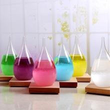 Fashion Water Drop Shape Rainstorm Storm Glass Weather Forecast Bottle Crystal Ornaments Hourglass For Home Decor Crafts Gift(China)