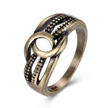JEXXI 2017 New Design 3 Row Cross Ring for Women Men Best Gift Retro Bronze Color Fashion Twist Finger Ring for Ladies Hot Sale