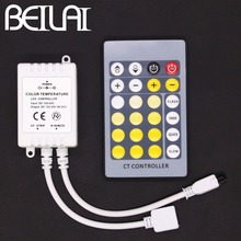 BEILAI DC 12V 24V Color Temperature Controller IR 24Key 4Pins Remote Control For Double Color SMD 5050 5630 5025 LED Strip(China)
