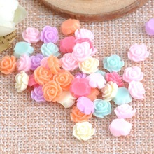 100PCS Candy Rose flatback Resin Cabochons Scrapbook Craft 6mm DIY buttons phone decor Headwear accessories CP1482