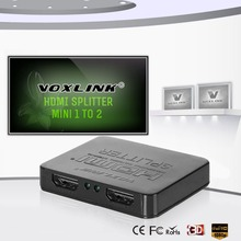 VOXLINK Black/White 1 Input 2 Outputs HDMI Splitter 4Kx2K 3D Mini HDMI Converter Adapter With Power Cable For HDTV PS3 STB DVD