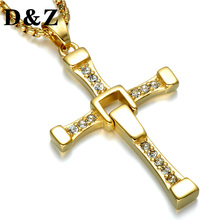D&Z The Fast and Furious Cross Pendant Necklace Adjustable Gold Silver Tone Paving CZ Stainless Steel Cross Necklaces
