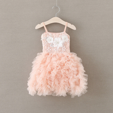 pink/mint/gray toddler girls ruffle tulle lace  dress with white flowers ,baby girl tutu  dress  baby girl dress ZJH0