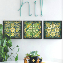 Emerald Indian national pattern retro 3 piece canvas wall art home decor painting for living room posters and prints schilderij