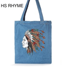 HS RHYME Casual Women Totes Bags Cool Indian Print Bags Cotton Jeans Messenger School Satchel Shopping Shoulder Sac Bolsa(China)