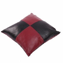 Plaid Black Red Checked Patchwork PU Leather Cushion Cover Vintage Luxury Europe Office Car Sofa Pillow Cover Home Decor
