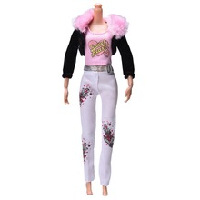 "Dolls Multi-color Clothes Pink Vest Black Fur Collar Coat Fashion Suit For 11"" Barbie Dolls Accessories 3 Pcs/Set"