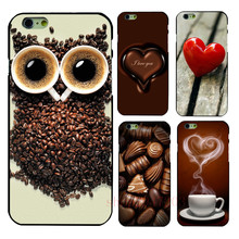 coffee heart shaped chocolate Black Hard Shell  For Apple iphone  4  4s 5 5s SE  5c 6 6S 6PLUS 7 7PLUS
