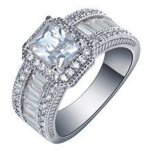 2016 Square promise Rings  new silver plated jewelry large size 7 8 9 White Cubic Zircon women Engagement Ring