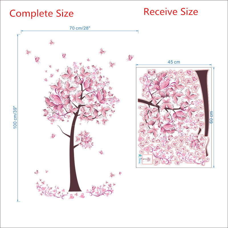HTB19glEtbGYBuNjy0Foq6AiBFXa1 - Charming Romantic Fairy Girl Wall Sticker For Kids Rooms Flower butterfly LOVE heart