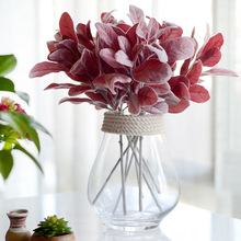 Floace Christmas artificial plant Flocking leaf Background decoration Flower arranging accessories Fake leaf(China)