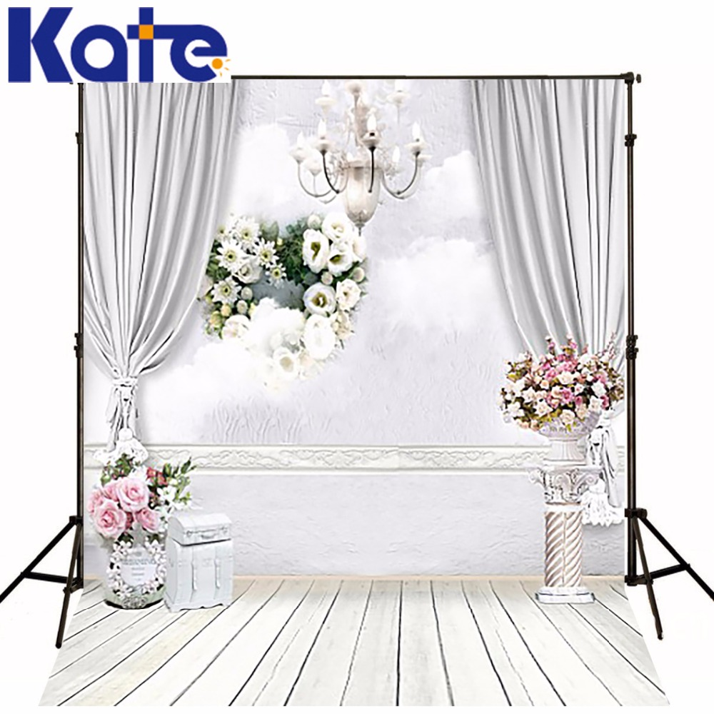 10x10ft Kate Newborn Baby Backdrop White Wood Floor Flores fondo foto boda Photocall Wedding Curtain Chandelier Indoor Backdrops<br>