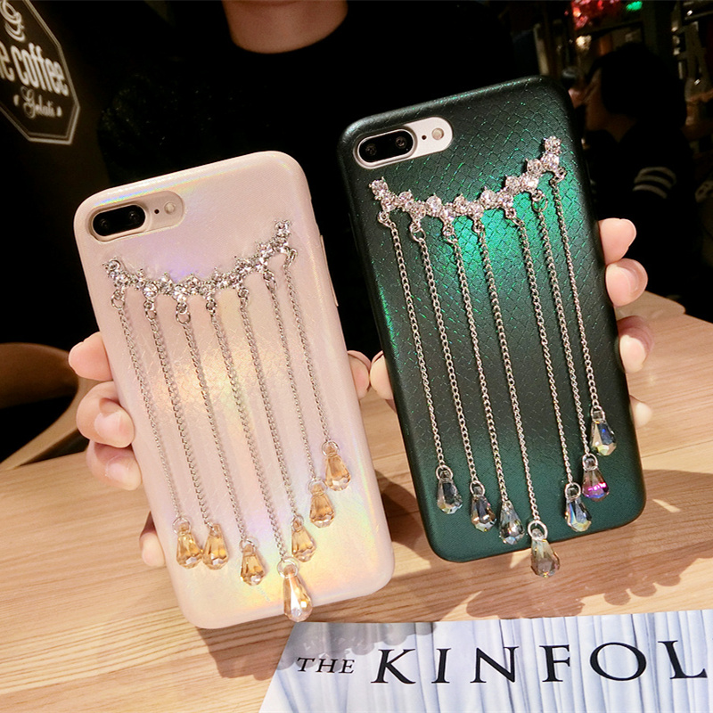 Fashion-Bling-Crystal-Diamond-Tassels-Phone-Cover-For-IPhone-X-8-7-7Plus-6-6S-6Plus