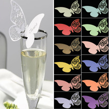 10 Pieces Table Mark Number Glass Laser Cut Pearlescent Butterfly Name Place Cards Butterfly Escort Cards For Wedding menu, sign