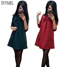Svymrl Fashion Summer New Women Loose Beach Dress Bodycon Half Sleeve Bow Green Blue A-Line Mini shirt dresses Vestido Plus Size