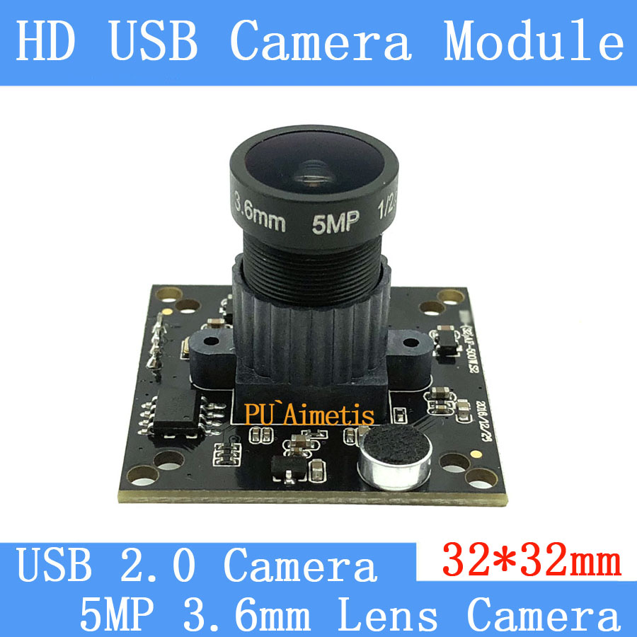 PU`Aimetis 32*32mm Industry Surveillance camera  HD 5MP 3.6MM lens 90 degrees 30FPS Linux UVC USB camera module With audio<br>
