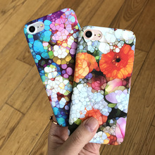 SZYHOME Phone Cases For iPhone 6 6s 7 Plus Case Art Flower Colorful Frosted Plastic For iPhone X Plus Mobile Phone Cover Case(China)