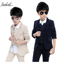 ActhInK New Spring Kids 3Pcs Solid Formal Wedding Suit for Boys Kids England Style Suit Boys Autumn Banquet Clothing Set, ZC078