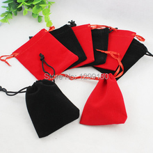 7x9cm 50Pcs/lot Mixed Color Velvet Drawstring Pouch Bag/Jewelry Bag Christmas/Wedding Gift Bag (K00193)(China)
