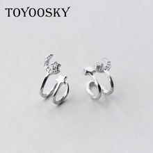 TOYOOSKY High Quality 925 Sterling Silver Star Moon Cuff Ear Clip Ear Wrap Earring Women Men Punk Gothic Jewelry Gift