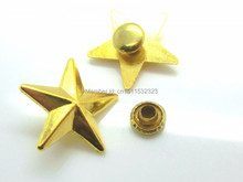 Free shipping -50 Sets Rivets Spike Studs Spots Star Gold Plated Punk Bag Clothes 19x18mm 7x3.5mm,D0045(China)