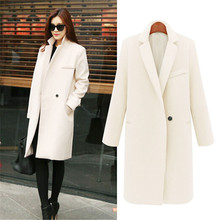 Autumn And Winter Women Woolen Coat Medium Thicken Warm Outwear Jacket Pink White Casual Female Woolen Coat(China)