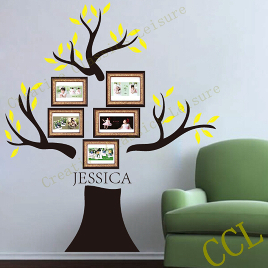 Tree wall decals large personalized family tree decal vinyl wall decal - Large Family Tree Wall Decal Personalized With Family Name 190x180cm Family Tree Photo Frame Wall Sticker Modern Home Decor